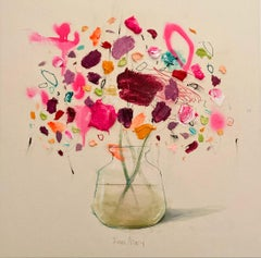Pink Flowers on Paper, still life by Spanish Contemporary Artist Fran Mora