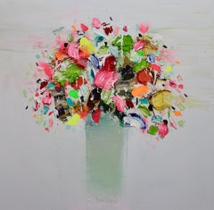 Textured Flowers, Contemporary Oil on Canvas by Spanish Artist Fran Mora