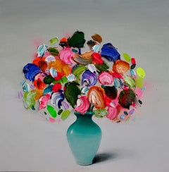 Textured Flowers No.2 , Oil on Canvas by Spanish Contemporary Artist Fran Mora