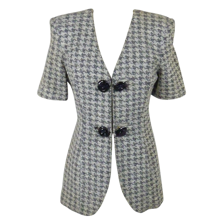 Franca Mossini White Blue Cotton Rose Tweed Jacket
