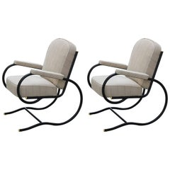 France, Pair of Bastian Spade Tubular Steel Chairs