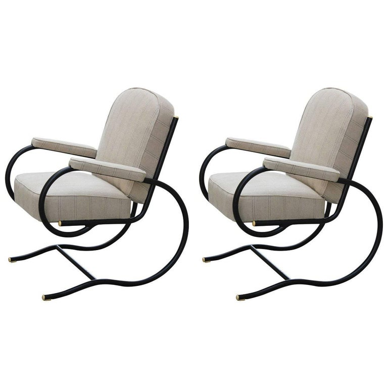 France, Pair of Bastian Spade Tubular Steel Chairs For Sale