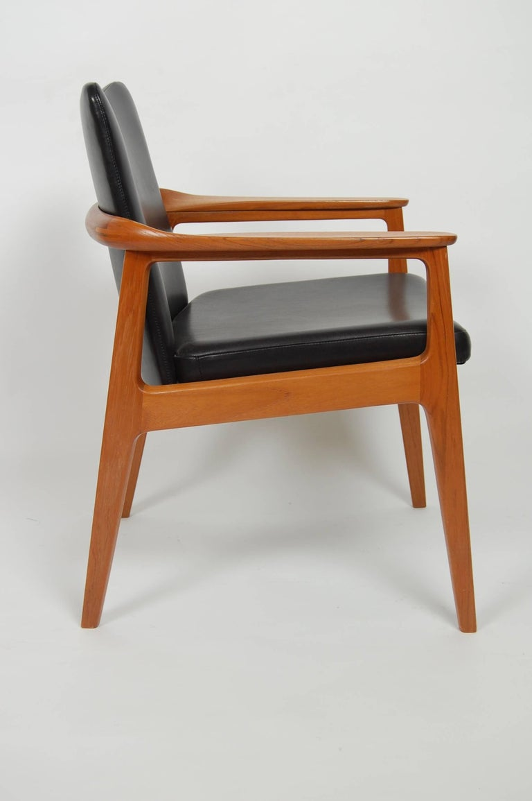France & Sons Teak & Leather Armchair by Count Sigvard Bernadotte Danish Modern For Sale 5