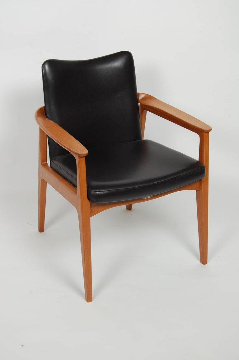 France & Sons Teak & Leather Armchair by Count Sigvard Bernadotte Danish Modern For Sale 6
