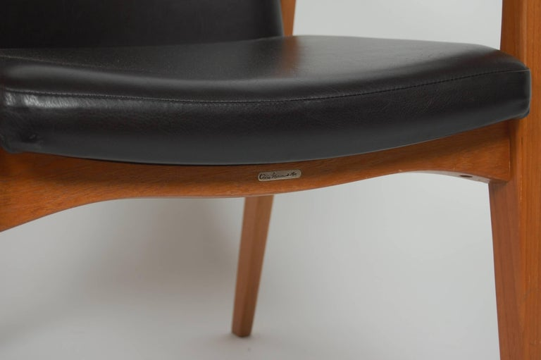 France & Sons Teak & Leather Armchair by Count Sigvard Bernadotte Danish Modern For Sale 7