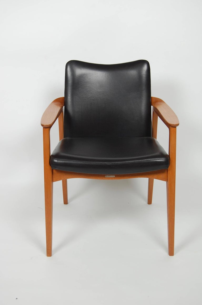 Oiled France & Sons Teak & Leather Armchair by Count Sigvard Bernadotte Danish Modern For Sale