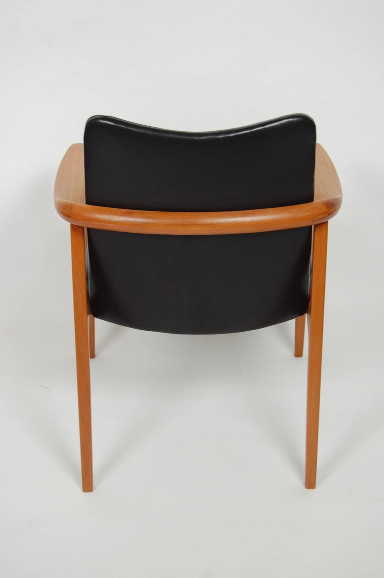 Mid-20th Century France & Sons Teak & Leather Armchair by Count Sigvard Bernadotte Danish Modern For Sale