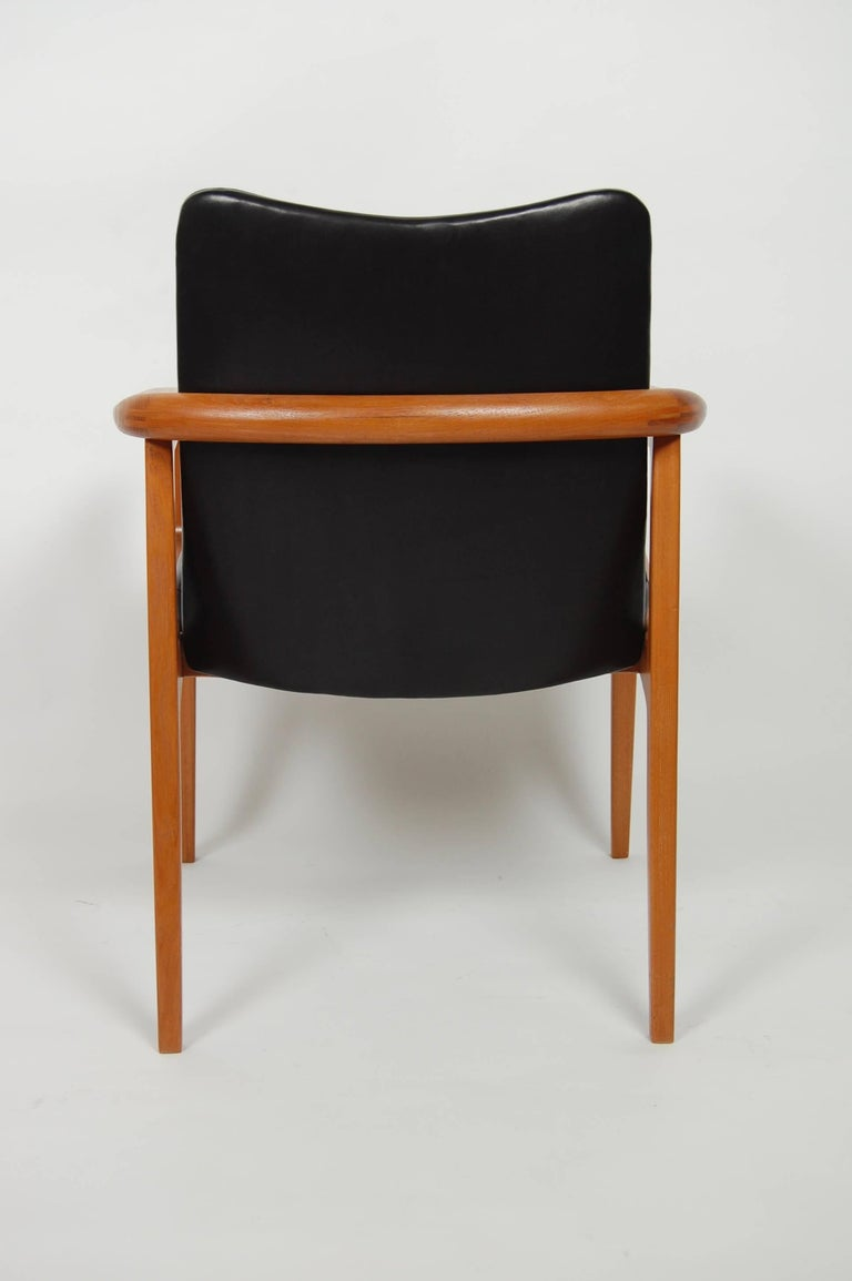 France & Sons Teak & Leather Armchair by Count Sigvard Bernadotte Danish Modern For Sale 1