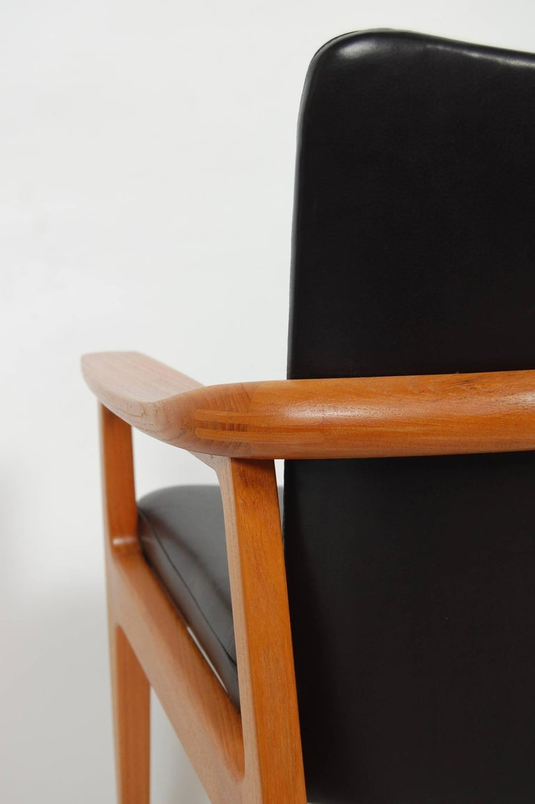 France & Sons Teak & Leather Armchair by Count Sigvard Bernadotte Danish Modern For Sale 2