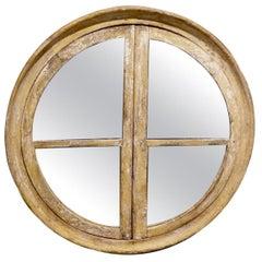 France 17th Century Round Wooden Frame Window/Mirror