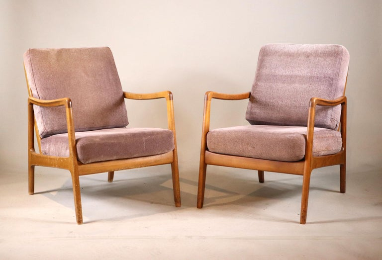 France and Daverkosen Teak Armchairs, Mid-Century Modern In Good Condition For Sale In Stamford, CT