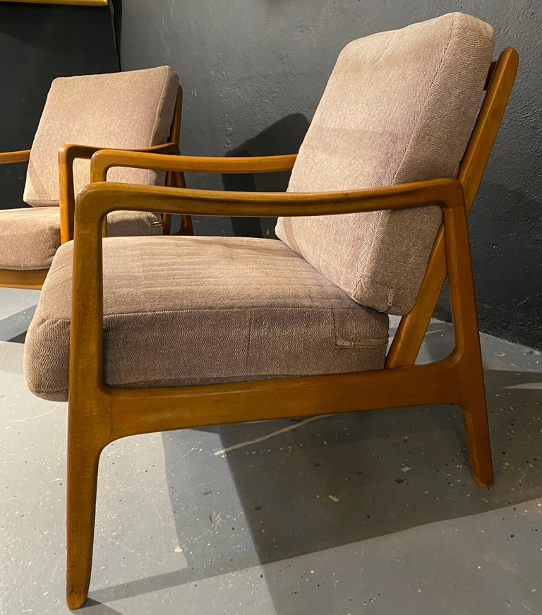 Fabric France and Daverkosen Teak Armchairs, Mid-Century Modern For Sale