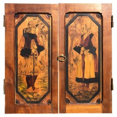 """France  Antique Handcrafted """"Brittany"""" Paul Fouillen Arts Crafts Panel Set Two"""
