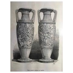Frankreich antike römischen Marmor Urnen neoklassische Schwarzweiß Druck, ca. 1850