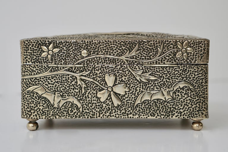 France Art Nouveau Silvered Jewelry Box Casket, circa 1900 For Sale 4