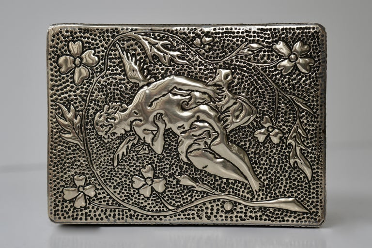 France Art Nouveau Silvered Jewelry Box Casket, circa 1900 For Sale 8