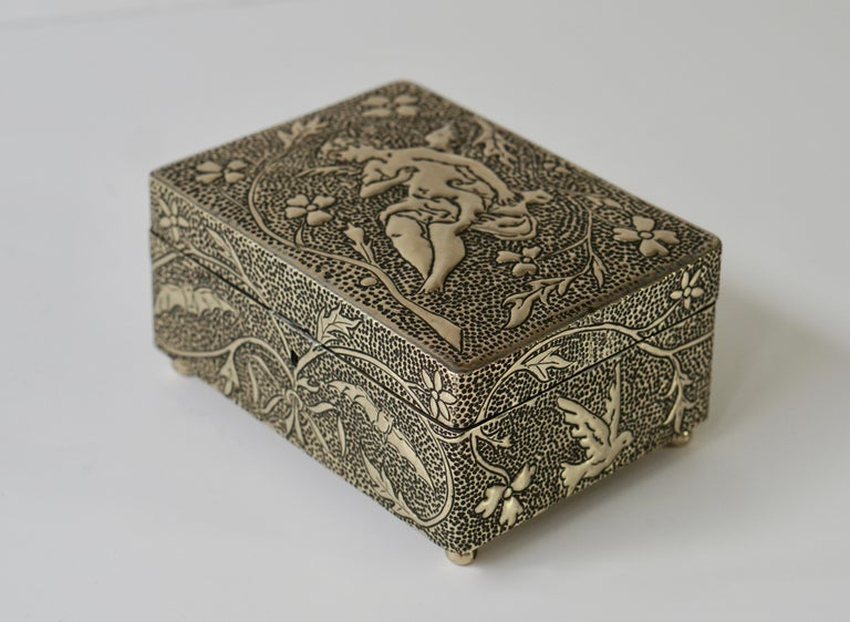 a68ec3a41b48 French France Art Nouveau Silvered Jewelry Box Casket, circa 1900 For Sale