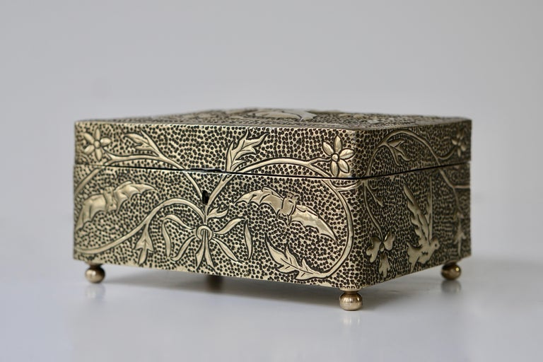 20th Century France Art Nouveau Silvered Jewelry Box Casket, circa 1900 For Sale