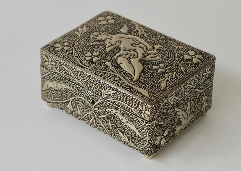 France Art Nouveau Silvered Jewelry Box Casket, circa 1900 For Sale 1