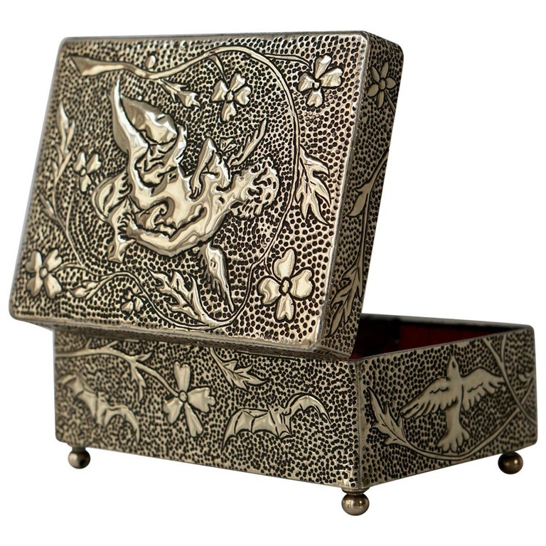 France Art Nouveau Silvered Jewelry Box Casket, circa 1900 For Sale