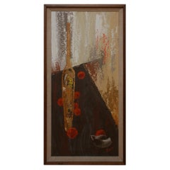 France Artist Jacques Henri Guyot Tall Oil on Canvas Abstract Art Modern, 1950s