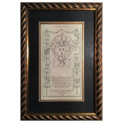 France Black and White Crests Print on Paper in French Style Golden Wood Frame