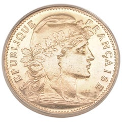France Gold 20 Francs 1907 Coin 14 Karat Yellow Gold Ring
