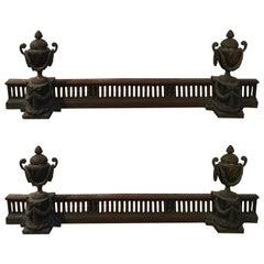 France Late 18th Century Bronze Fireplace Andirons Neoclassical Style