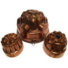 France Late 18th Century Set 3 Kitchen Copper Pudding Molds for Wall Decoration