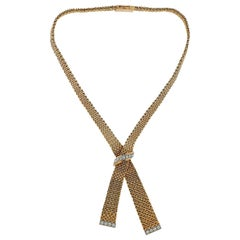 France Midcentury Diamond Gold Necklace