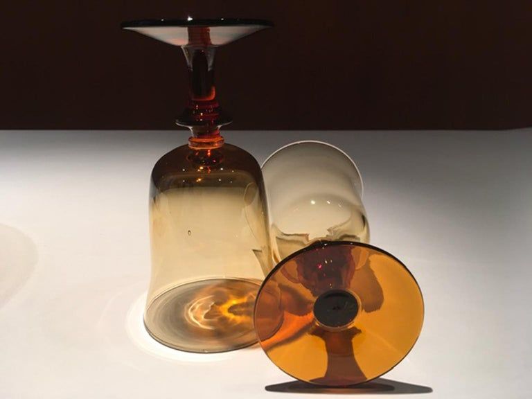 France Pair of Blown Amber Glass Gobelets or Little Vases For Sale 3