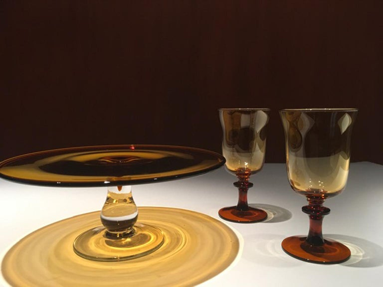 France Pair of Blown Amber Glass Gobelets or Little Vases For Sale 4