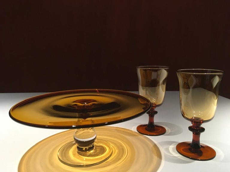 France Pair of Blown Amber Glass Gobelets or Little Vases For Sale 5
