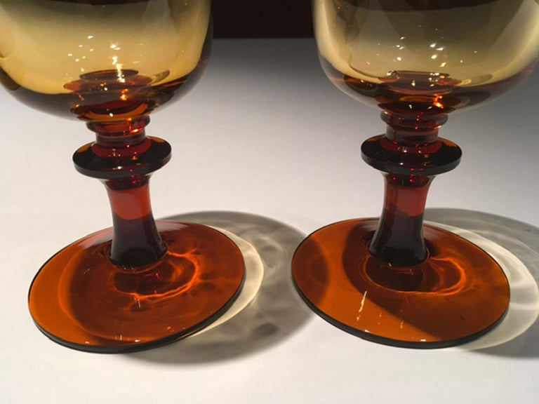 Baroque France Pair of Blown Amber Glass Gobelets or Little Vases For Sale