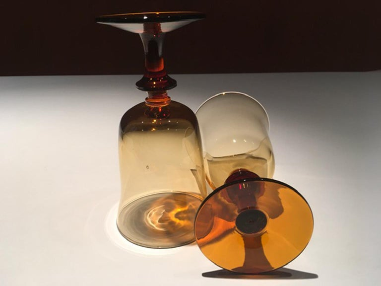 French France Pair of Blown Amber Glass Gobelets or Little Vases For Sale