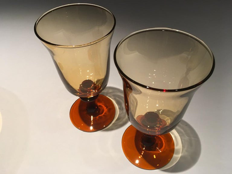 Contemporary France Pair of Blown Amber Glass Gobelets or Little Vases For Sale