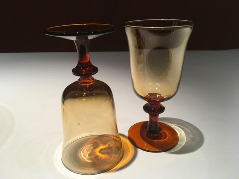 Blown Glass France Pair of Blown Amber Glass Gobelets or Little Vases For Sale