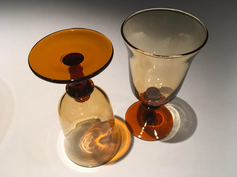 France Pair of Blown Amber Glass Gobelets or Little Vases For Sale 1