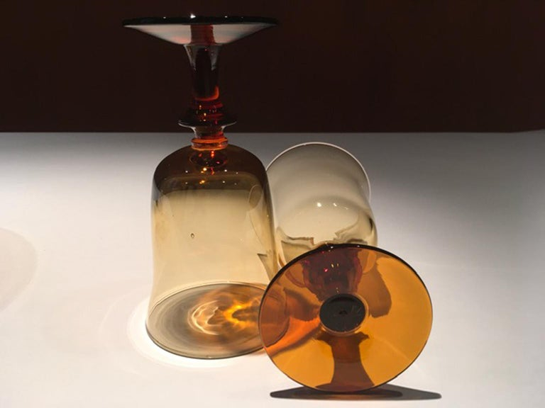 France Pair of Blown Amber Glass Gobelets or Little Vases For Sale 2