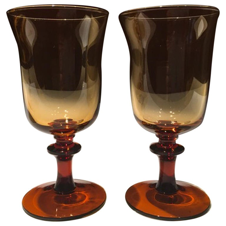 France Pair of Blown Amber Glass Gobelets or Little Vases For Sale