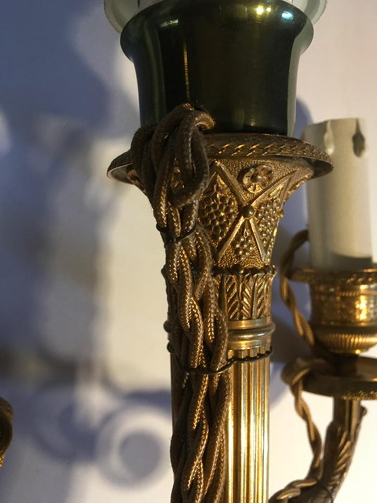 France Pair of Late 18th Century Handcrafted Golden Brass 4 Lights Candleholders For Sale 8
