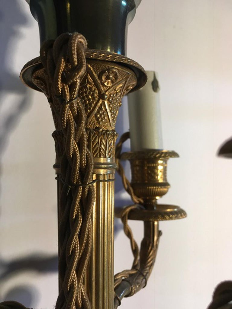 Hand-Crafted France Pair of Late 18th Century Handcrafted Golden Brass 4 Lights Candleholders For Sale