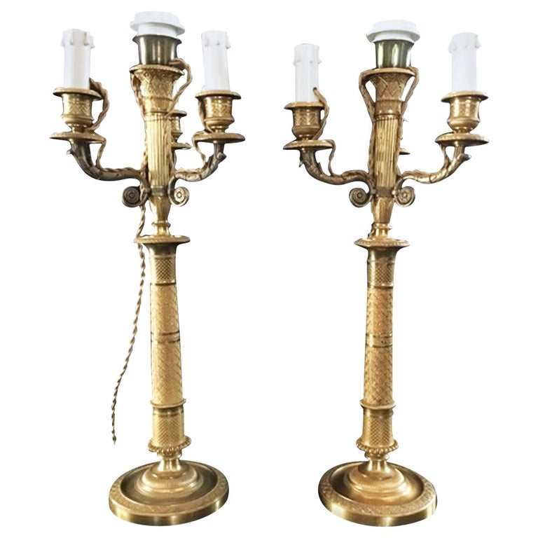 France Pair of Late 18th Century Handcrafted Golden Brass 4 Lights Candleholders For Sale