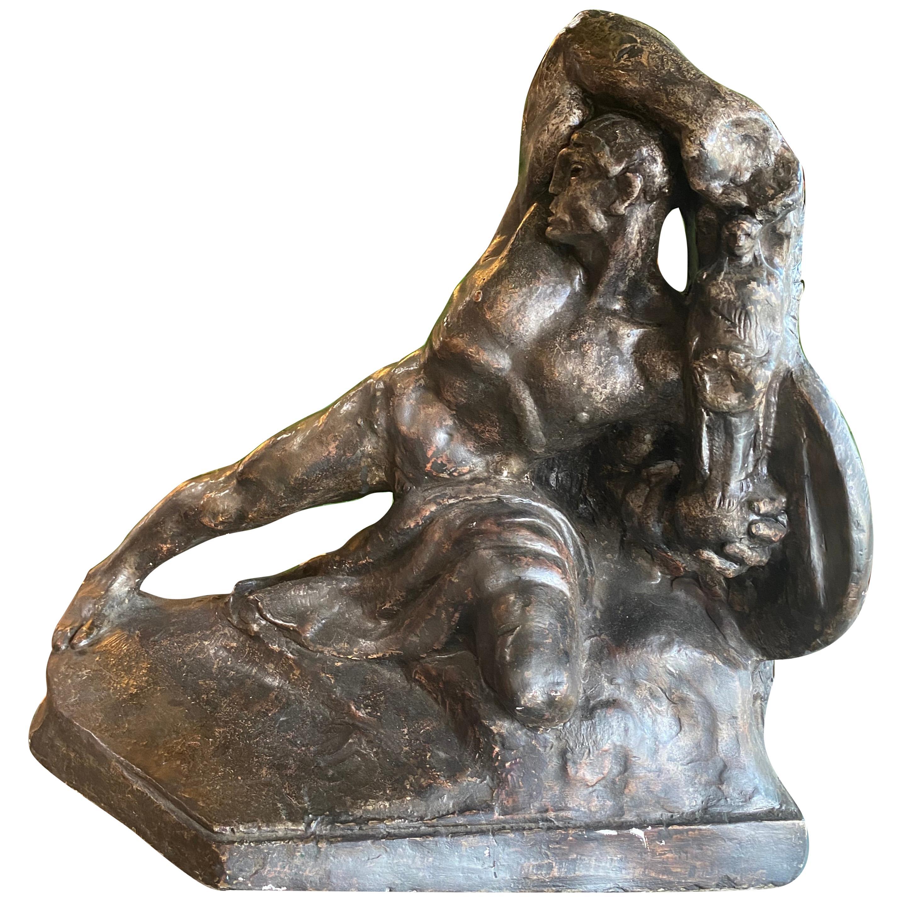 """France Plaster Sculpture Sketch """"The Warrior"""", 1920s"""