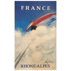 'France Rhone-Alpes' Original Vintage French Ski Poster, by Mathieu