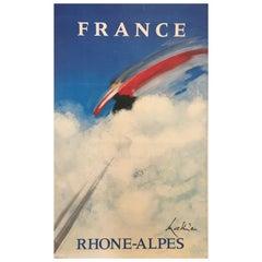 'France Rhone-Alpes' Original Vintage French Ski Poster, by Mathieu