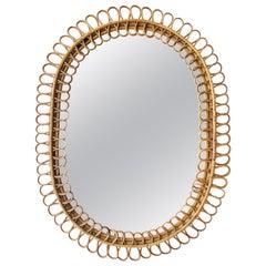 France Riviera Franco Albini for Bonacina Rattan Bamboo Oval Mirror Italy, 1960s