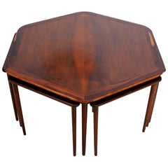 France & Son Rosewood Hexagonal Coffee Table and 6 Nesting Tables 1950s Denmark