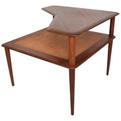 France & Sons Peter Hvidt Corner Teak Cane Table Danish Modern Daverkosen