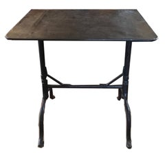 France Wrought Iron Bistrot Table with Folding Top, 1930 Outdoor Indoor Use
